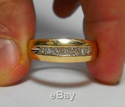 10K SOLID GOLD Mens Heavy Top Quality Vintage 8 Diamond Ring Sz 10 SPECTACULAR