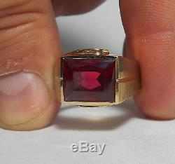10K SOLID GOLD Mens Heavy Top Quality Vintage Ruby Ring Sz 9.5 AWESOME MINT FIND