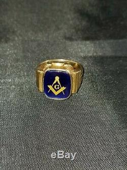 10K YELLOW GOLD RING MEN'S MASON BLUE SPINEL SIZE 9 with Vintage Tie Clip
