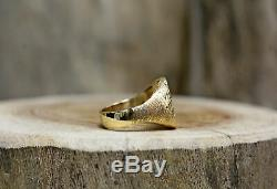 10Kt Yellow Gold Vintage Bloodstone Men's Ring Size 7