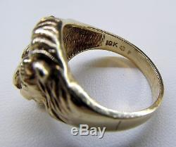10k Solid Yellow Gold Vintage Mens Diamond Eye and Mouth Lion Head Ring 1/10ct