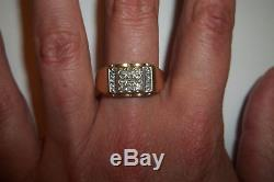 10k Yellow Gold Genuine Diamond Mens Band Ring. 10 CT single Cut size 10 Vintage