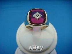 10k Yellow Gold Men's Red Stone And Diamond Vintage Ring, 7.3 Grams, Size 10