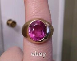 10k Yellow Gold Mens Ring Pink Sapphire Size 10 Vintage