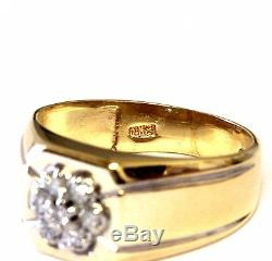 10k yellow gold. 21ct SI2 H mens diamond cluster ring 5.9g vintage gents