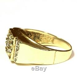 10k yellow gold. 43ct SI2 H round diamond cluster mens ring 6.5g gents vintage