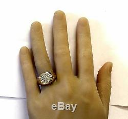 10k yellow gold. 98ct VS2 G diamond cluster mens gents ring band 12.3g vintage