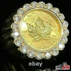 14K Gold Diamond 1.00ct Ring 24K Canada Maple Coin Ring Mens Estate Vintage
