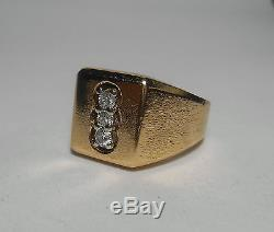 14K SOLID GOLD Heavy Mens Top Quality Vintage 3 Diamond Ring Sz 9 SPECTACULAR