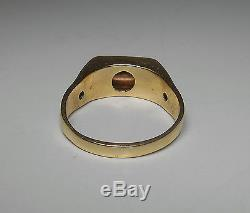 14K SOLID GOLD Mens Heavy Top Quality Vintage. 45ct TW 3 Diamond Ring Sz 12.5