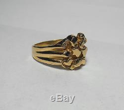 14K SOLID GOLD Mens Heavy Top Quality Vintage Nugget Style Ring Sz 13 FABULOUS