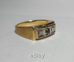 14K SOLID GOLD Mens Heavy Top Quality Vintage Ruby & Diamond Ring Sz 11 AWESOME
