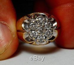 14K SOLID GOLD Mens Top Quality Vintage. 85ct TW 7 Diamond Ring Sz 7.75 TOP VS-1
