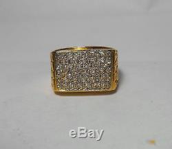 14K SOLID GOLD Mens Top Quality Vintage Natural Nugget Diamond Ring Sz 9.25 BEST