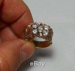 14K SOLID GOLD Mens Vintage Modernist 1ct TW 5 Diamond Band Ring Sz 9 TOP VS-1