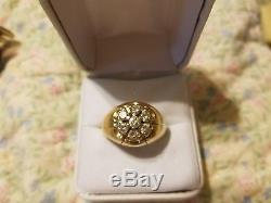 14K YELLOW GOLD MEN'S 1 CT DIAMOND CLUSTER VINTAGE RING, 8.4 GRAMS SIZE 11 or 12