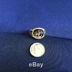 14K YELLOW GOLD MEN'S SIGNET RING with ANTIQUE FINISH, VINTAGE (1983)