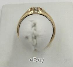14K Yellow Gold. 28ct Mens Vintage Diamond Band Ring Size 11.25 I1 I-J