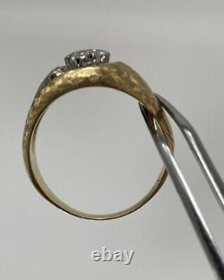 14K Yellow Gold Fine Diamond Mens/women Vintage Wide Cluster Ring Size 9.25