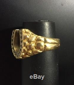 14K Yellow Gold Horse Shoe Men's Ring with Diamonds Heavy Band Vintage