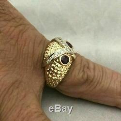 14K Yellow Gold Over Pinky Vintage Estate Band Owl Head Ruby Diamond Mens Ring
