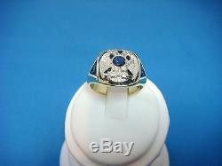 14k Gold Masonic Vintage Men's Ring Solid Back With Sapphire 14.4 Gr, Size 10.25