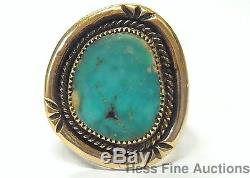 14k Gold Turquoise Large Vintage Native American Indian Southwest Mens Ring