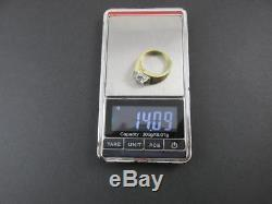 14k Solid Yellow Gold Diamond Mens Ring Vintage 1970s Circa