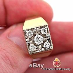 14k Yellow Gold 1.00Ctw Vintage Mens Diamond Five-Stone Right Hand Pinky Ring