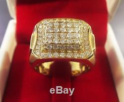 14k Yellow Gold Fn 2. Ct Vintage Mens Diamond White-Stone Right Hand Pinky Ring