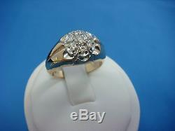 14k Yellow Gold Men's-boys 0.50 Ct Diamond Cluster Vintage Ring, 5.9 Grams, Size 7