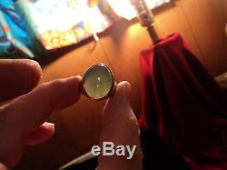 14k Yellow Gold Oval Light Green Jade Jadite Vintage Mens Large Ring