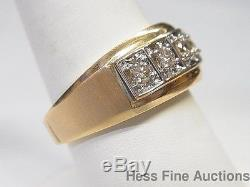 14k Yellow Gold Vintage 5 Stone Genuine Diamond Mens Band Ring 0.50ctw Approx