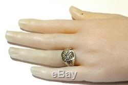 14k white gold 1ct diamond solitaire mens ring 9.8g gents estate vintage rare