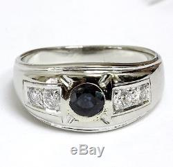 14k white gold. 38ct SI2 H diamond men's sapphire ring 7.0g gents estate vintage