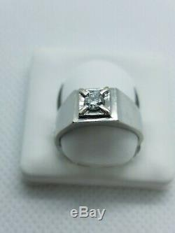 14k white gold Men Vintage 1980 Pinkie Ring with. 20CT Diamond size 6 pre-owned