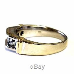 14k white yellow gold. 98ct 5 diamond mens wedding band ring 10.7g gents vintage