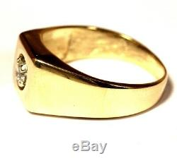 14k yellow gold. 25ct SI1 diamond solitaire mens ring 7.7g gents estate vintage