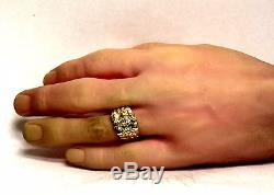14k yellow gold. 34ct VS2 J mens diamond nugget band ring 7.3g vintage gents