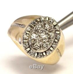 14k yellow gold. 39ct SI2 H diamond mens cluster ring 10.2g gents estate vintage