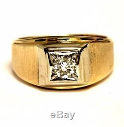 14k yellow gold. 52ct SI1 K mens diamond solitaire ring 11.2g gents vintage