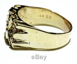 14k yellow gold nugget cluster mens ring 6.7g gents vintage antique