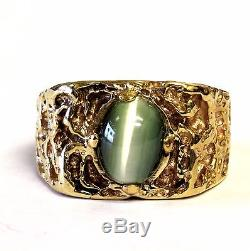 14k yellow gold nugget mens green cats eye ring 10.6g gents estate vintage