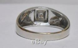 14kt White Gold 9 Diamond Men's Sz 12.5 Ring 6.5g Band. 55tcw Coronation Vintage