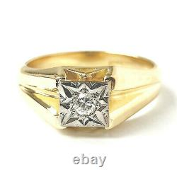 18ct Gold Vintage Diamond Ring Men's Illusion Set 8.3g Size T 0.05ct