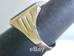 1920's VINTAGE MANS 5.16ct GEN BLOODSTONE RING with STRONG REDS! 10k YELLOW GOLD