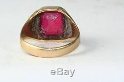 1950's Vintage 10k Gold Ruby Red Glass Mens Ring Size 10.75