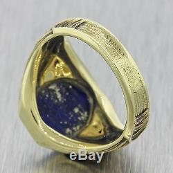 1960s Mens Vintage 14k Solid Yellow Gold Lapis Lazuli Dragon Accents Signet Ring