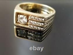 1.10TCW Vintage Mens Solitaire Diamond Tension Accents 14k yellow gold band