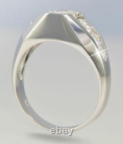 1.35 Ct 14k White Gold Over Round-Cut Diamond Men's Deco Style Ring Top Vintage